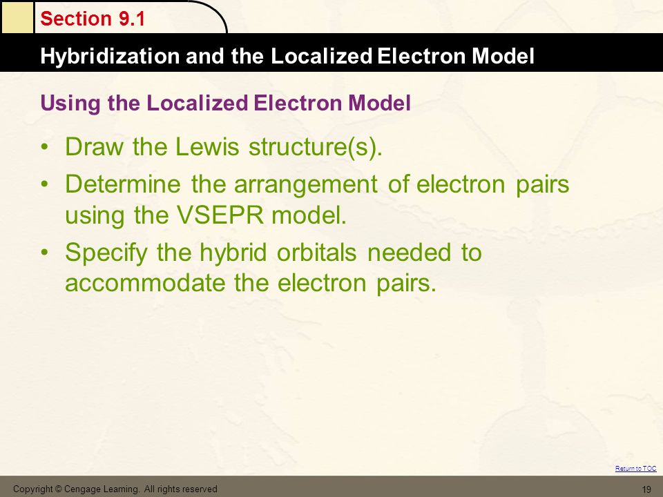 Section 9.1 Hybridization and the Localized Electron Model Return to TOC Copyright © Cengage Learning. All rights reserved 19 Using the Localized Elec