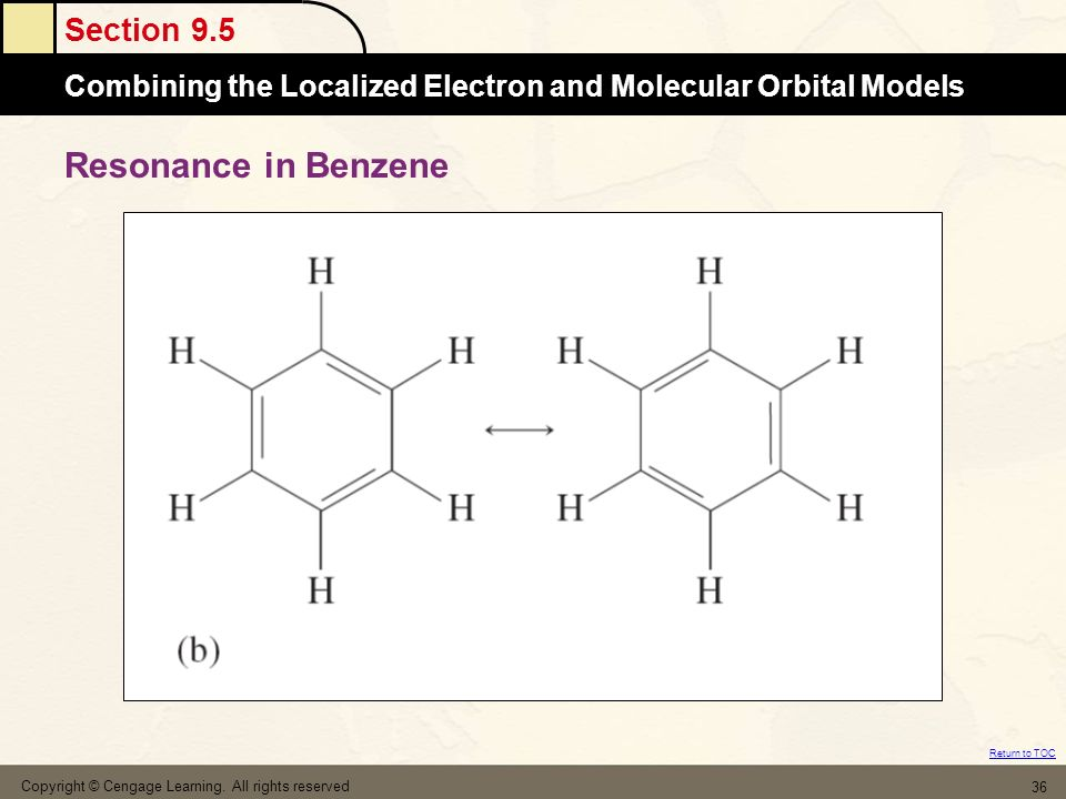 Section 9.5 Combining the Localized Electron and Molecular Orbital Models Return to TOC Copyright © Cengage Learning. All rights reserved 36 Resonance