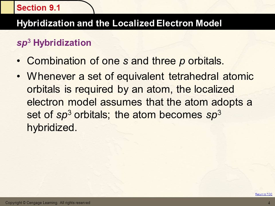 Section 9.1 Hybridization and the Localized Electron Model Return to TOC Copyright © Cengage Learning. All rights reserved 4 sp 3 Hybridization Combin