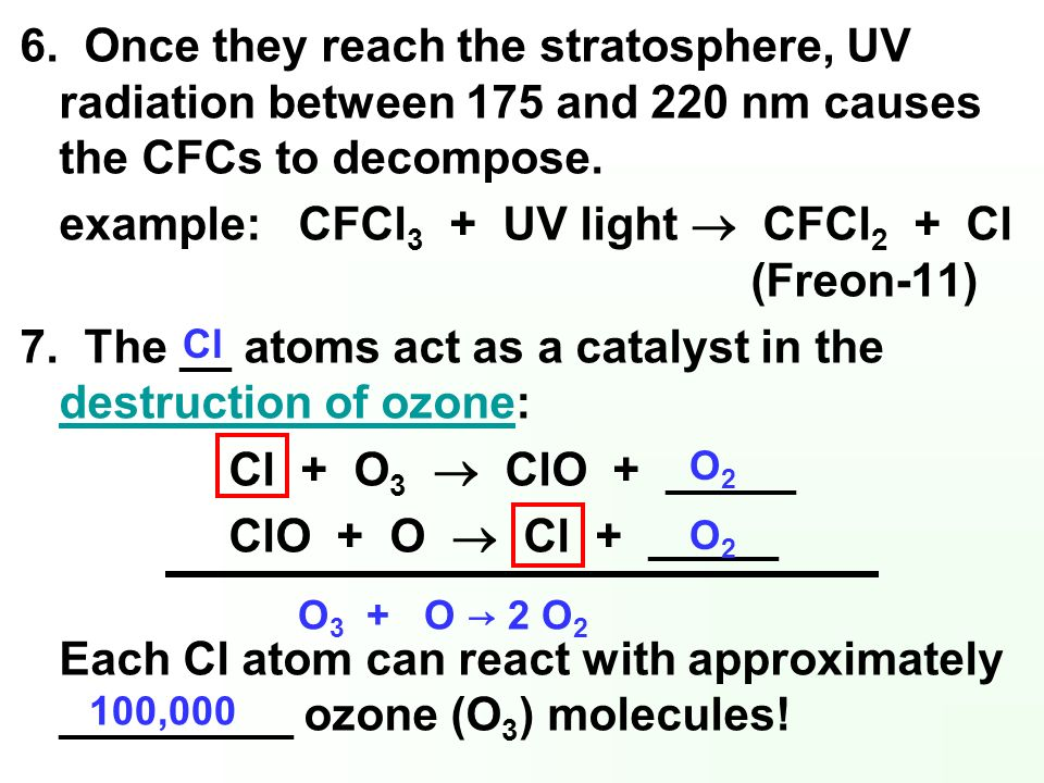6. Once they reach the stratosphere, UV radiation between 175 and 220 nm causes the CFCs to decompose. example: CFCl 3 + UV light CFCl 2 + Cl (Freon-1