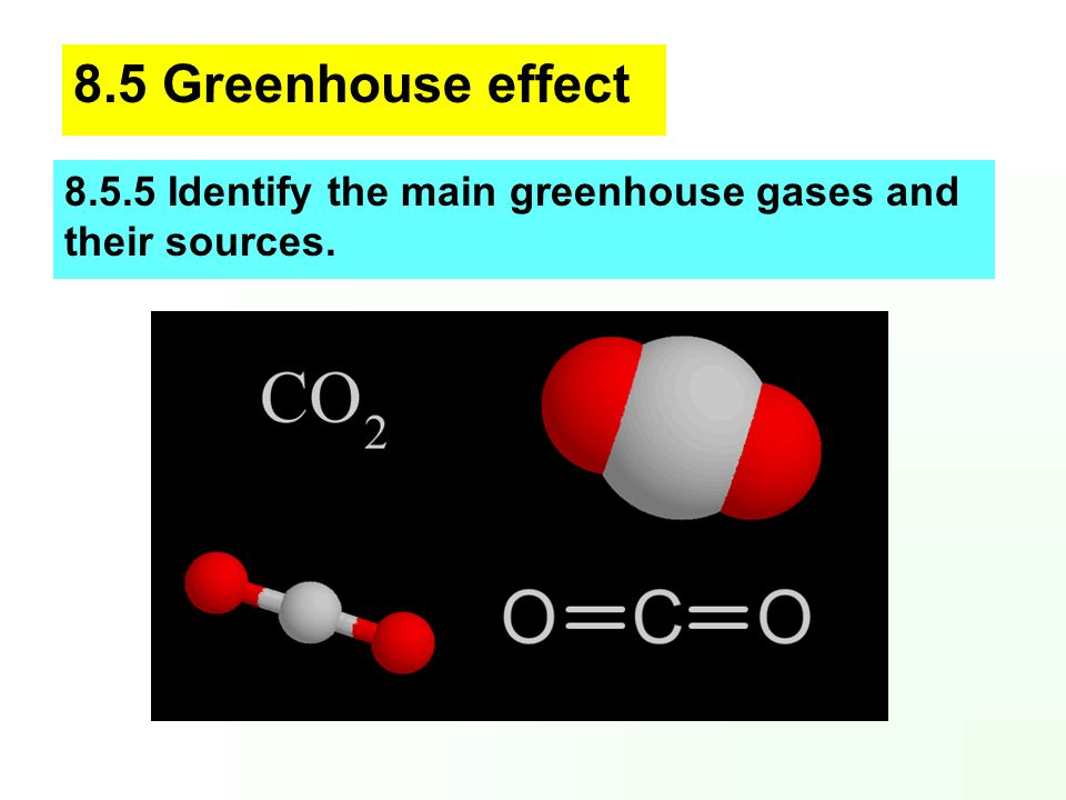 8.5 Greenhouse effect 8.5.5 Identify the main greenhouse gases and their sources.