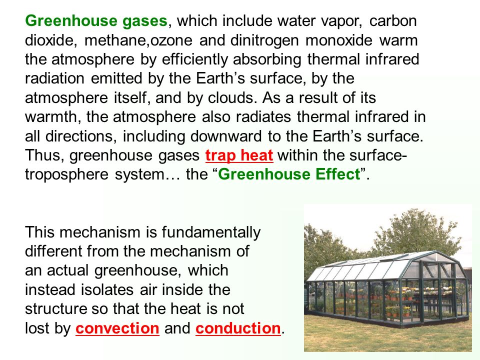 Greenhouse gases, which include water vapor, carbon dioxide, methane,ozone and dinitrogen monoxide warm the atmosphere by efficiently absorbing therma