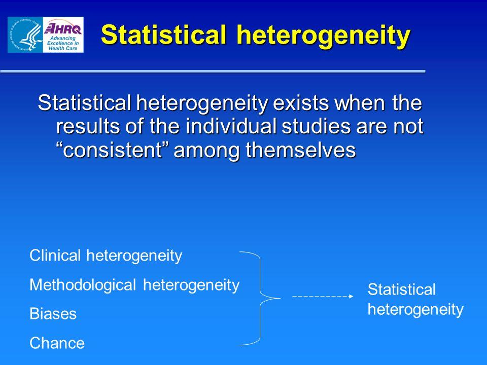 Clinical vs.statistical heterogeneity Clinical and methodological heterogeneity is abundant.