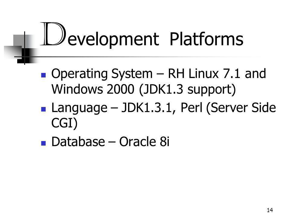 14 D evelopment Platforms Operating System – RH Linux 7.1 and Windows 2000 (JDK1.3 support) Language – JDK1.3.1, Perl (Server Side CGI) Database – Oracle 8i