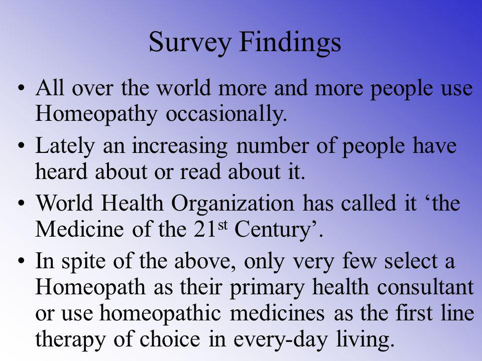 Session 2 Survey findings on Homeopathy Some myths surrounding Homeopathy and the facts Principles of Homeopathy Difference between Allopathy and Home