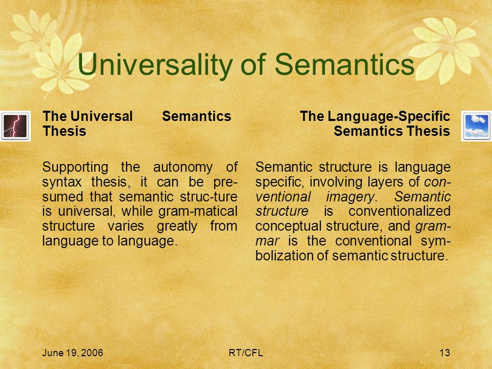 June 19, 2006RT/CFL12 Autonomy of Syntax The Autonomous Syntax Thesis As a special case of the modularity of grammar, syntax is an autono-mous compone