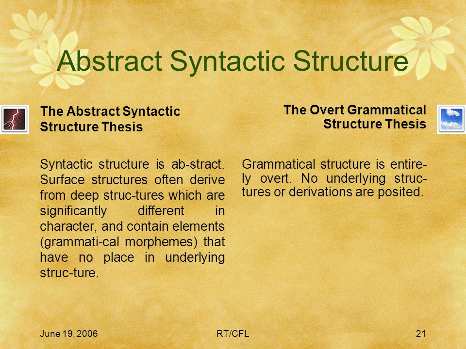 June 19, 2006RT/CFL20 Meaningful Grammatical Morphemes 3 While so-called lexical morphemes tend to cluster near the complex/concrete end of the continuum, we see a clear gradation in series like ostrich–bird–animal–thing.