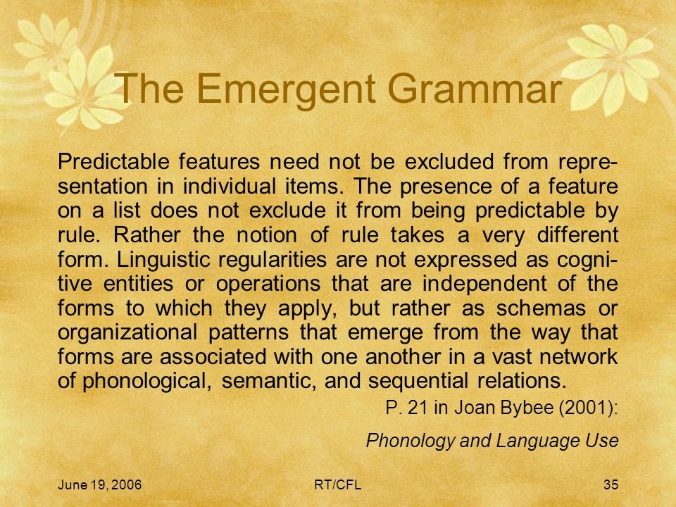The Emergent Grammar A Cognitive Solution