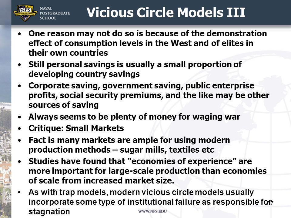 Vicious Circle Models III One reason may not do so is because of the demonstration effect of consumption levels in the West and of elites in their own