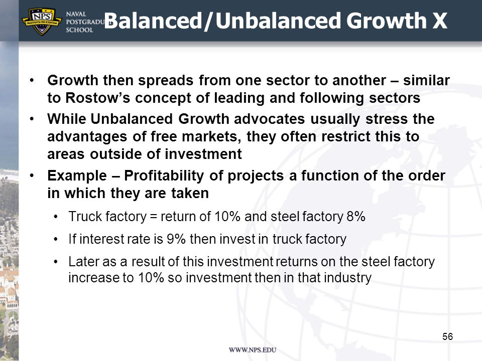 Balanced/Unbalanced Growth X Growth then spreads from one sector to another – similar to Rostows concept of leading and following sectors While Unbala