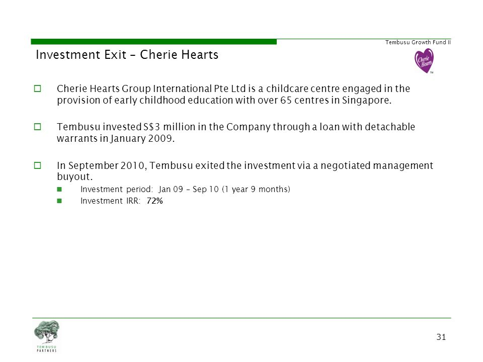 Tembusu Growth Fund II Investment Exit – Cherie Hearts Cherie Hearts Group International Pte Ltd is a childcare centre engaged in the provision of ear