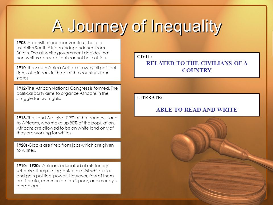 A Journey of Inequality 1908- A constitutional convention is held to establish South African independence from Britain. The all-white government decid