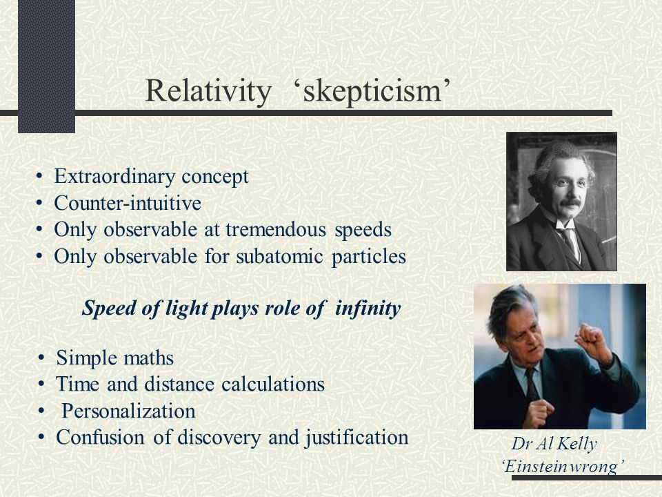 Relativity skepticism Extraordinary concept Counter-intuitive Only observable at tremendous speeds Only observable for subatomic particles Simple math