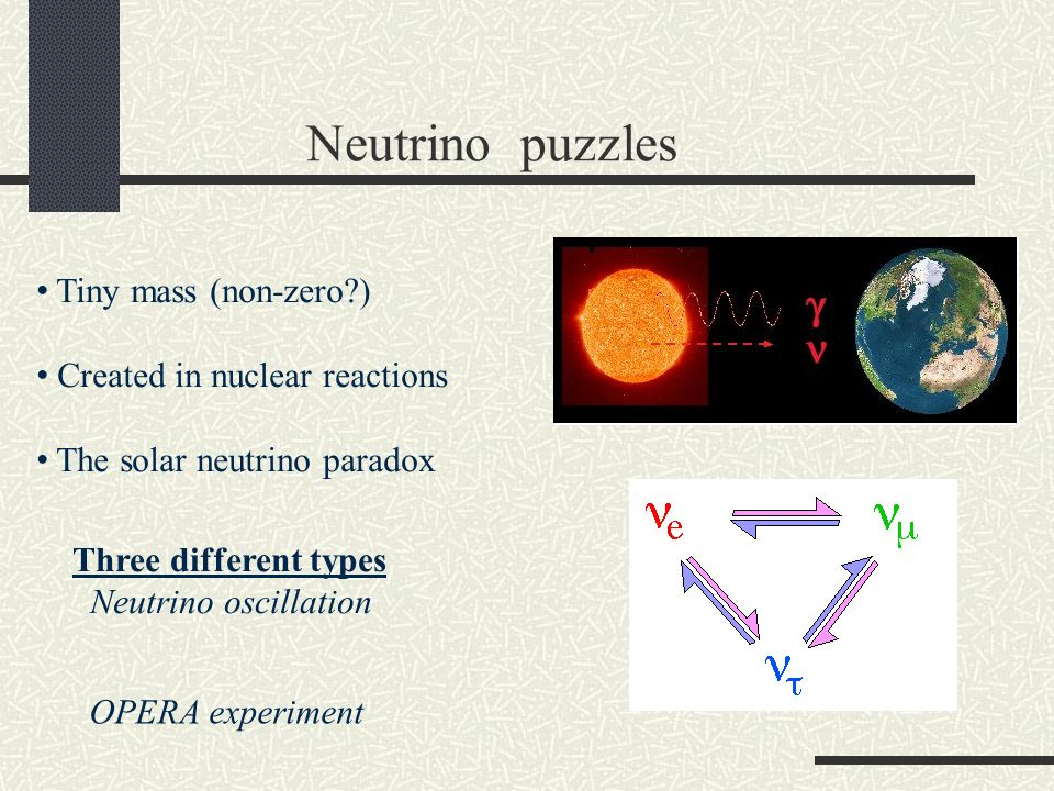 Neutrino puzzles Tiny mass (non-zero ) Created in nuclear reactions The solar neutrino paradox Three different types Neutrino oscillation OPERA experiment