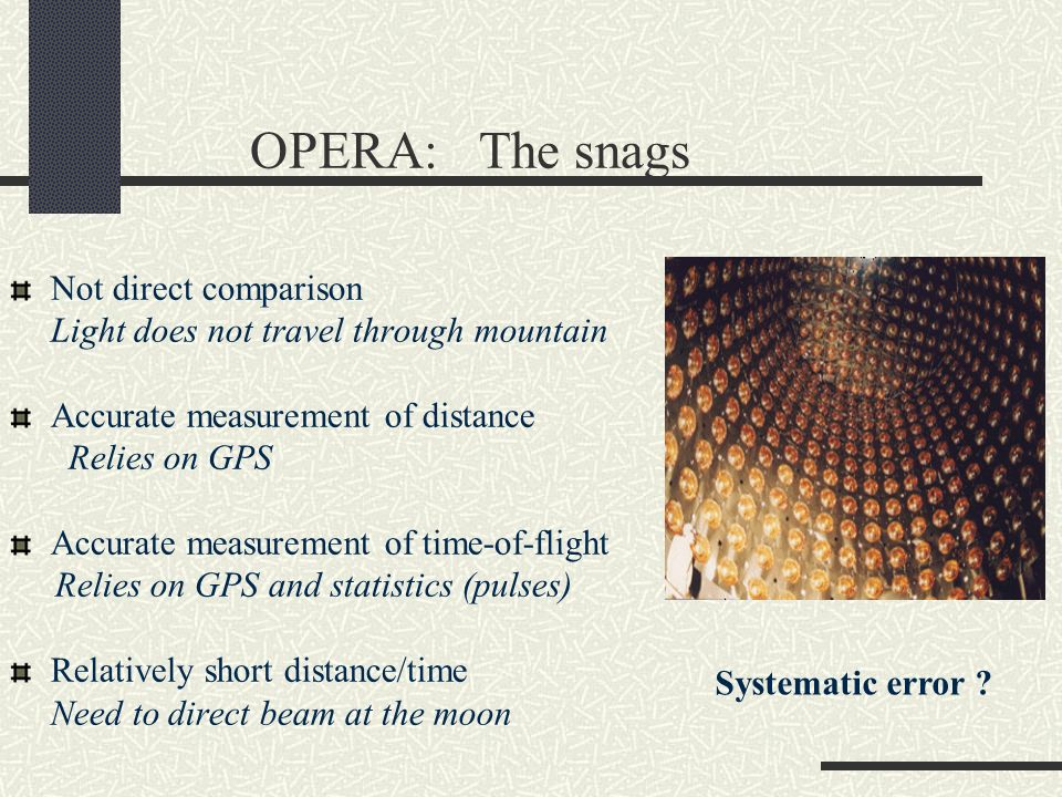 OPERA: The snags Not direct comparison Light does not travel through mountain Accurate measurement of distance Relies on GPS Accurate measurement of t