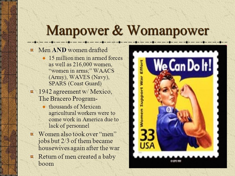 Manpower & Womanpower AND Men AND women drafted 15 million men in armed forces as well as 216,000 women, women in arms; WAACS (Army), WAVES (Navy), SP