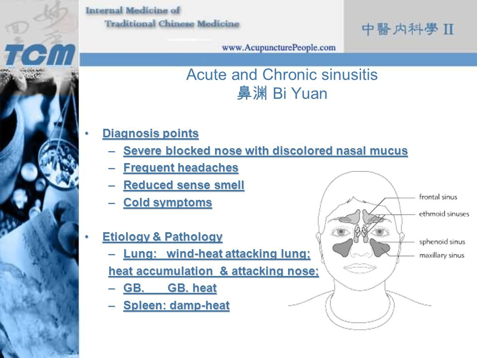 Acute and Chronic sinusitis Bi Yuan Diagnosis pointsDiagnosis points –Severe blocked nose with discolored nasal mucus –Frequent headaches –Reduced sen