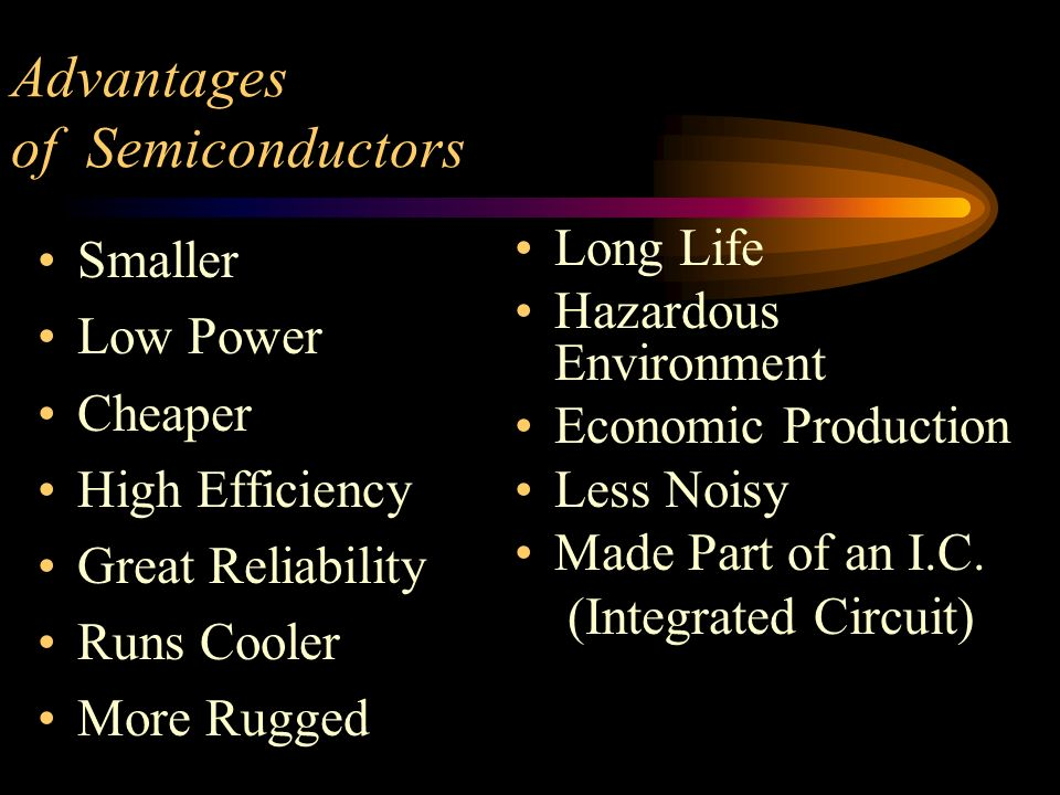 Advantages of Semiconductors Smaller Low Power Cheaper High Efficiency Great Reliability Runs Cooler More Rugged Long Life Hazardous Environment Econo