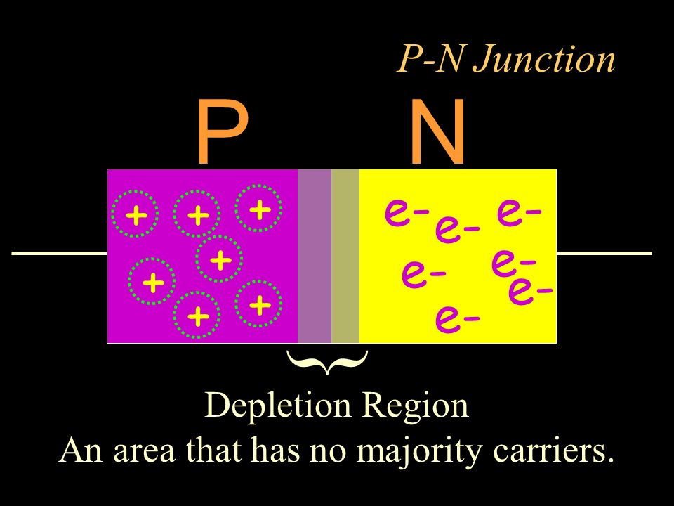 P-N Junction PN Depletion Region An area that has no majority carriers. { e- + + + + + + +