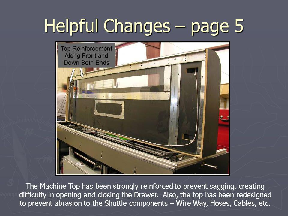 Helpful Changes – page 5 The Machine Top has been strongly reinforced to prevent sagging, creating difficulty in opening and closing the Drawer. Also,