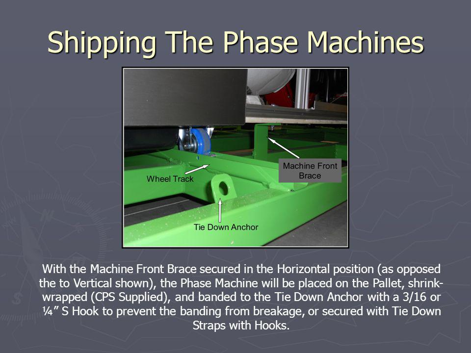Shipping The Phase Machines With the Machine Front Brace secured in the Horizontal position (as opposed the to Vertical shown), the Phase Machine will be placed on the Pallet, shrink- wrapped (CPS Supplied), and banded to the Tie Down Anchor with a 3/16 or ¼ S Hook to prevent the banding from breakage, or secured with Tie Down Straps with Hooks.