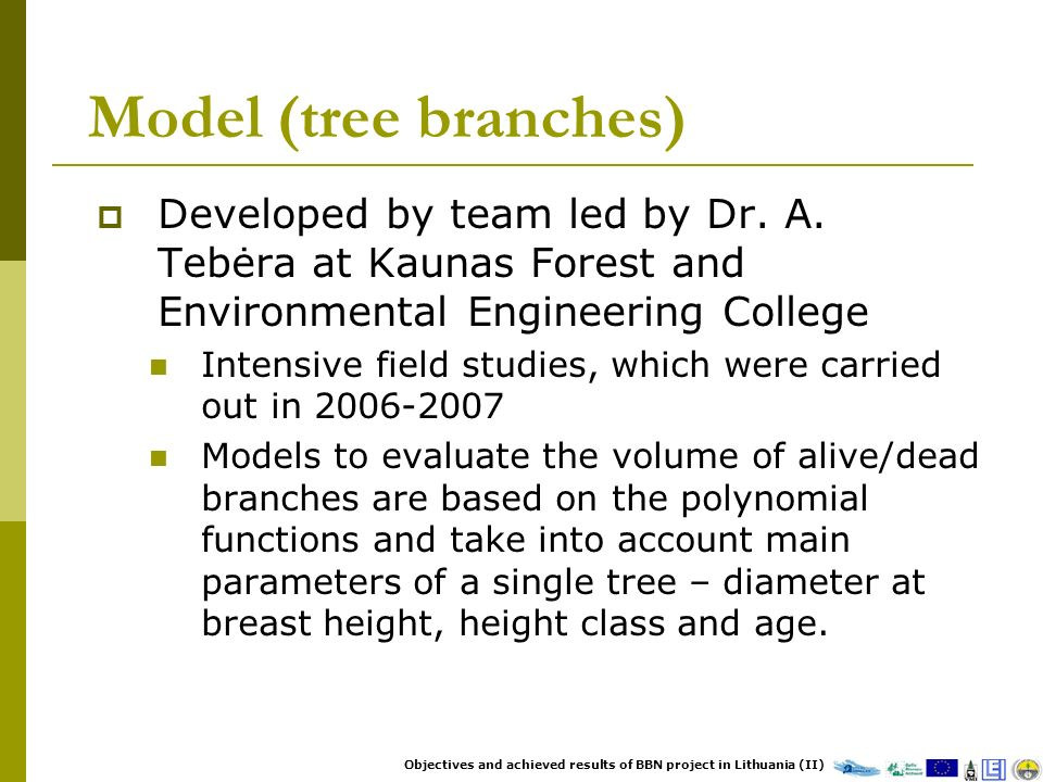 Model (tree branches) Developed by team led by Dr. A. Tebėra at Kaunas Forest and Environmental Engineering College Intensive field studies, which wer