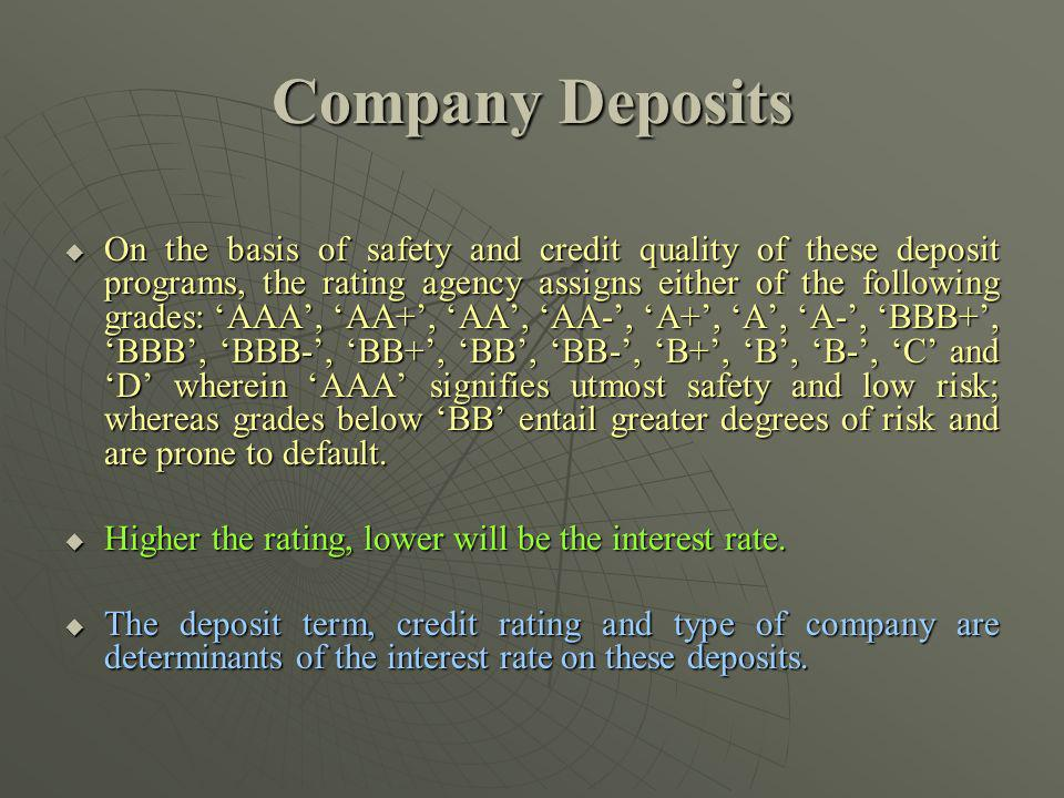 Company Deposits On the basis of safety and credit quality of these deposit programs, the rating agency assigns either of the following grades: AAA, A