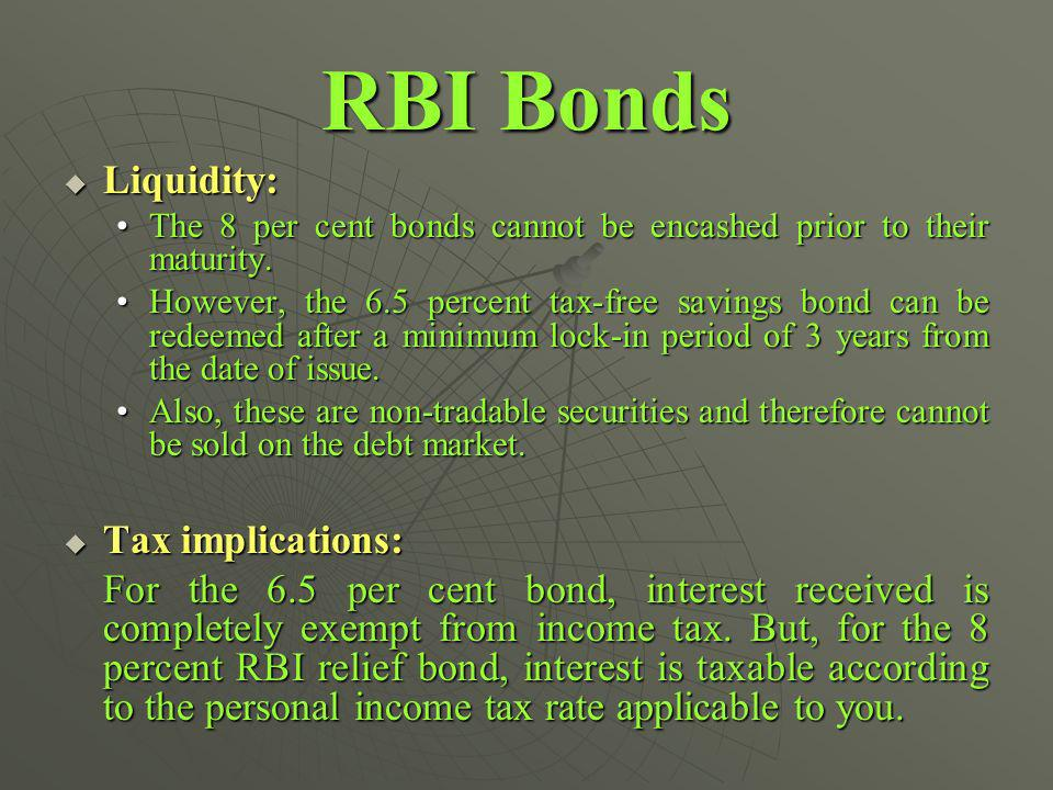 RBI Bonds Liquidity: Liquidity: The 8 per cent bonds cannot be encashed prior to their maturity.The 8 per cent bonds cannot be encashed prior to their maturity.