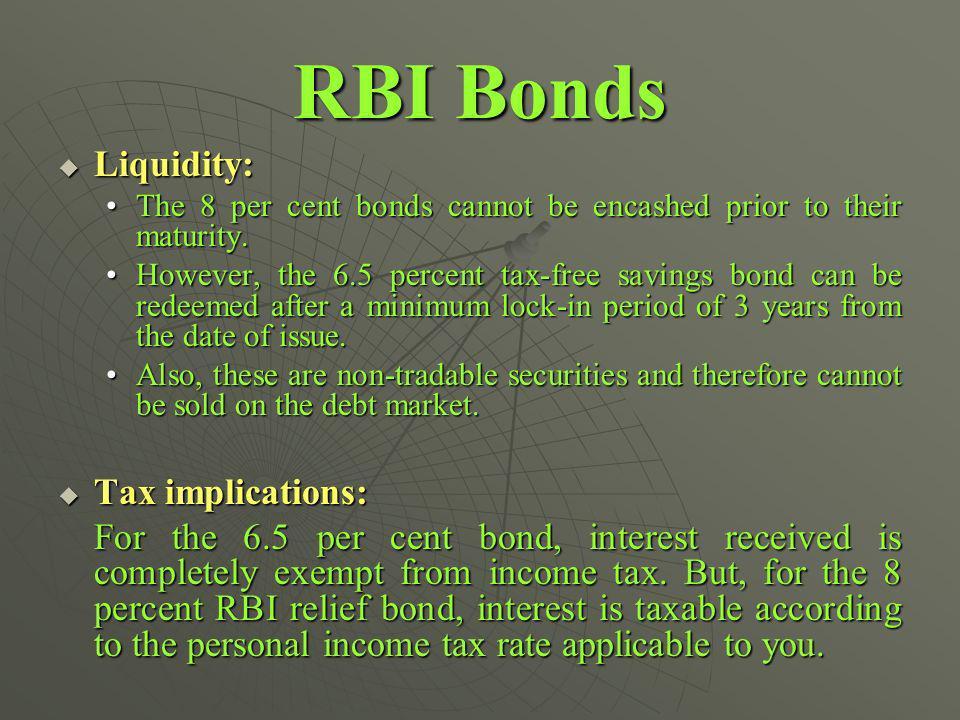 RBI Bonds Liquidity: Liquidity: The 8 per cent bonds cannot be encashed prior to their maturity.The 8 per cent bonds cannot be encashed prior to their