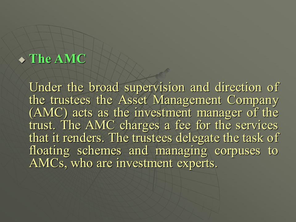 The AMC The AMC Under the broad supervision and direction of the trustees the Asset Management Company (AMC) acts as the investment manager of the tru