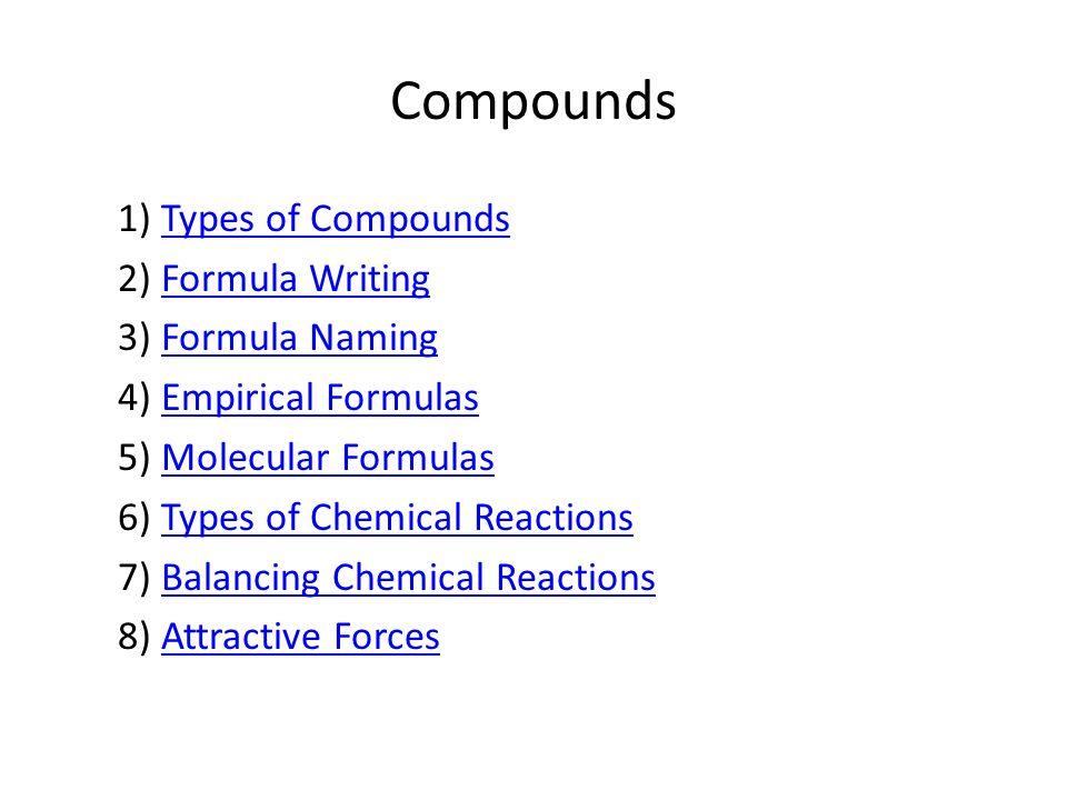 Compounds 1) Types of CompoundsTypes of Compounds 2) Formula WritingFormula Writing 3) Formula NamingFormula Naming 4) Empirical FormulasEmpirical For