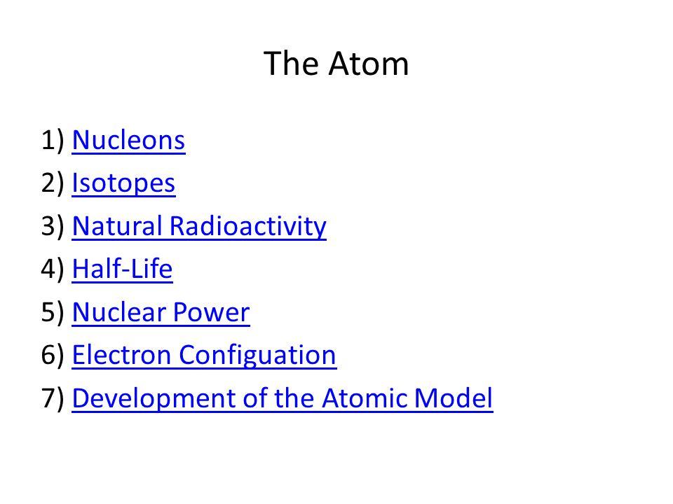 The Atom 1) NucleonsNucleons 2) IsotopesIsotopes 3) Natural RadioactivityNatural Radioactivity 4) Half-LifeHalf-Life 5) Nuclear PowerNuclear Power 6)