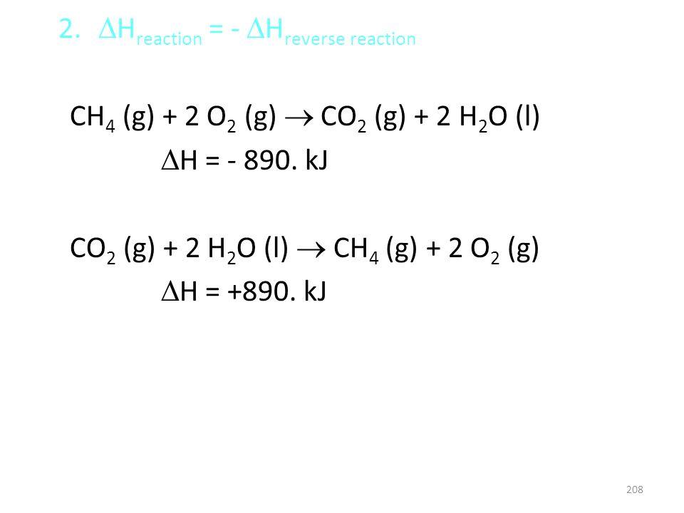 2. H reaction = - H reverse reaction CH 4 (g) + 2 O 2 (g) CO 2 (g) + 2 H 2 O (l) H = - 890. kJ CO 2 (g) + 2 H 2 O (l) CH 4 (g) + 2 O 2 (g) H = +890. k
