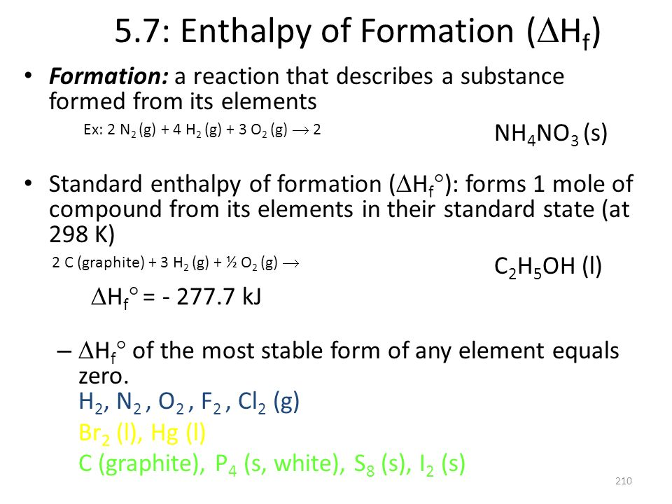 5.7: Enthalpy of Formation ( H f ) Formation: a reaction that describes a substance formed from its elements NH 4 NO 3 (s) Standard enthalpy of format