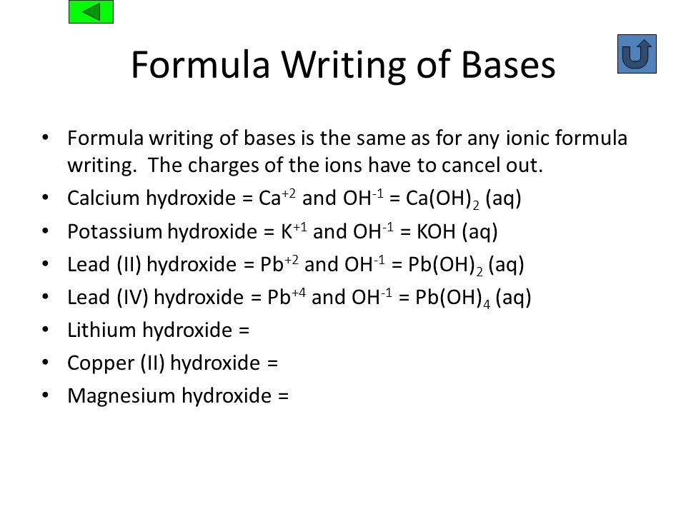 Formula Writing of Bases Formula writing of bases is the same as for any ionic formula writing. The charges of the ions have to cancel out. Calcium hy
