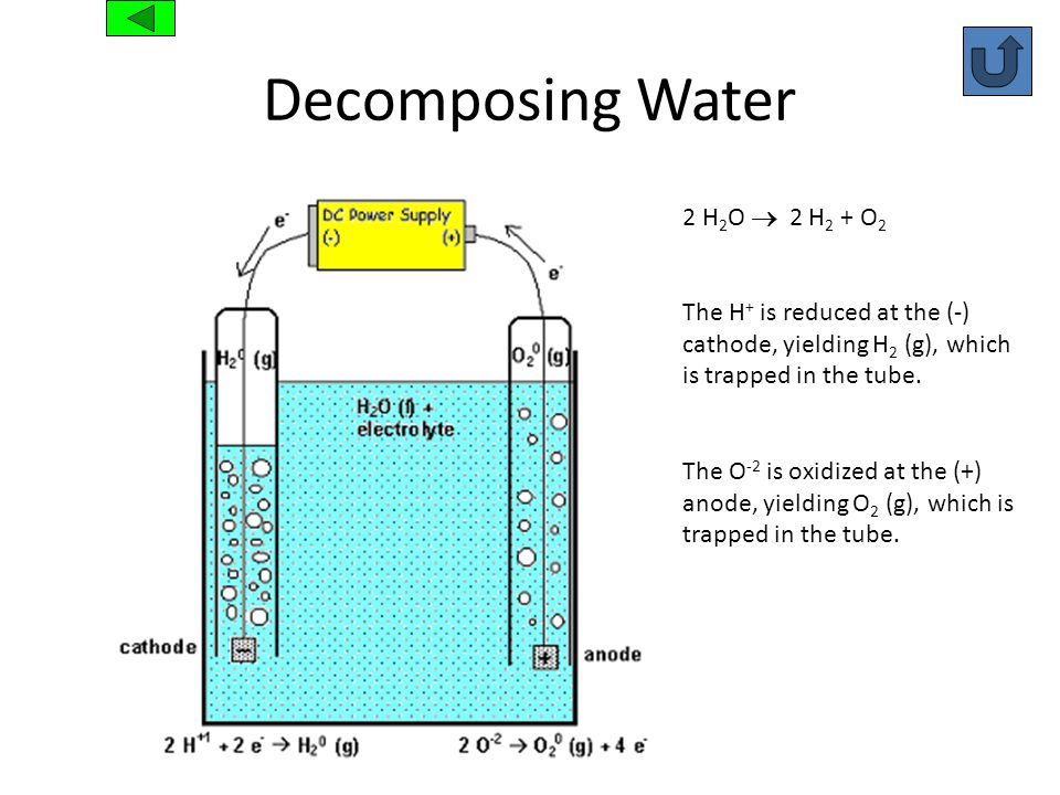 Decomposing Water 2 H 2 O 2 H 2 + O 2 The H + is reduced at the (-) cathode, yielding H 2 (g), which is trapped in the tube. The O -2 is oxidized at t