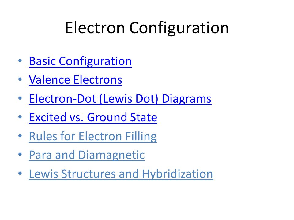 Electron Configuration Basic Configuration Valence Electrons Electron-Dot (Lewis Dot) Diagrams Excited vs. Ground State Rules for Electron Filling Par