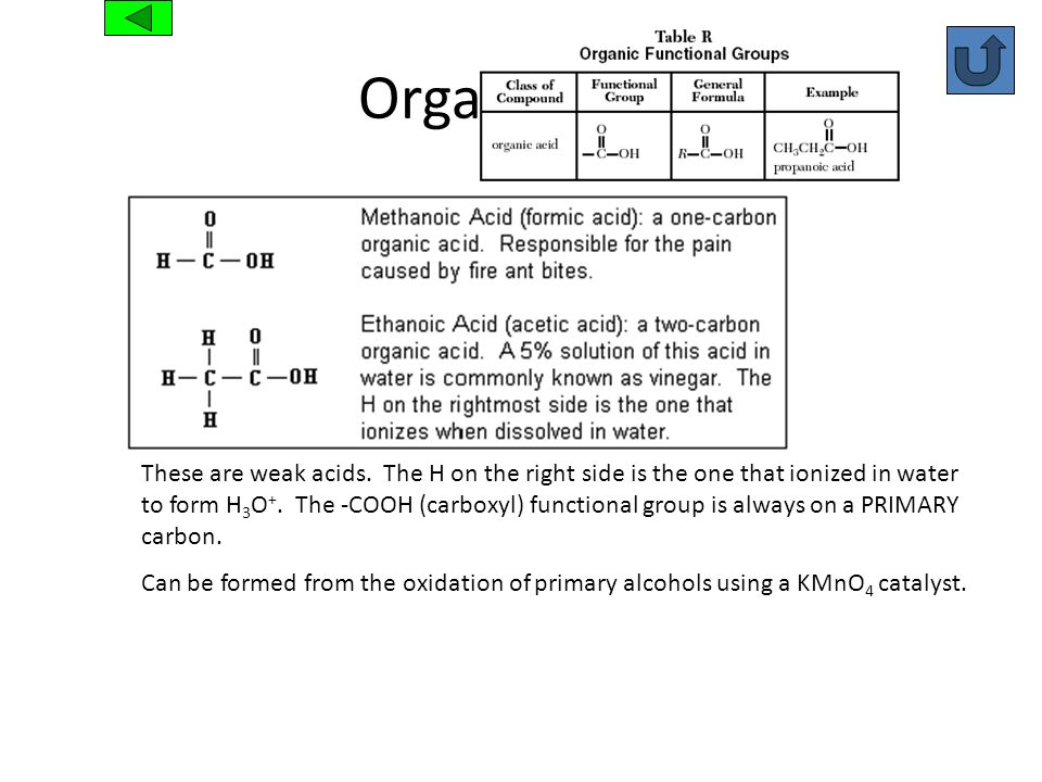 Organic Acid These are weak acids. The H on the right side is the one that ionized in water to form H 3 O +. The -COOH (carboxyl) functional group is