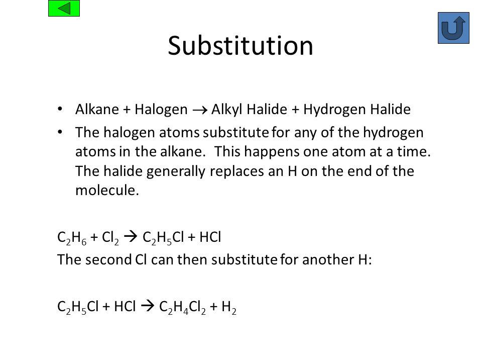Substitution Alkane + Halogen Alkyl Halide + Hydrogen Halide The halogen atoms substitute for any of the hydrogen atoms in the alkane. This happens on
