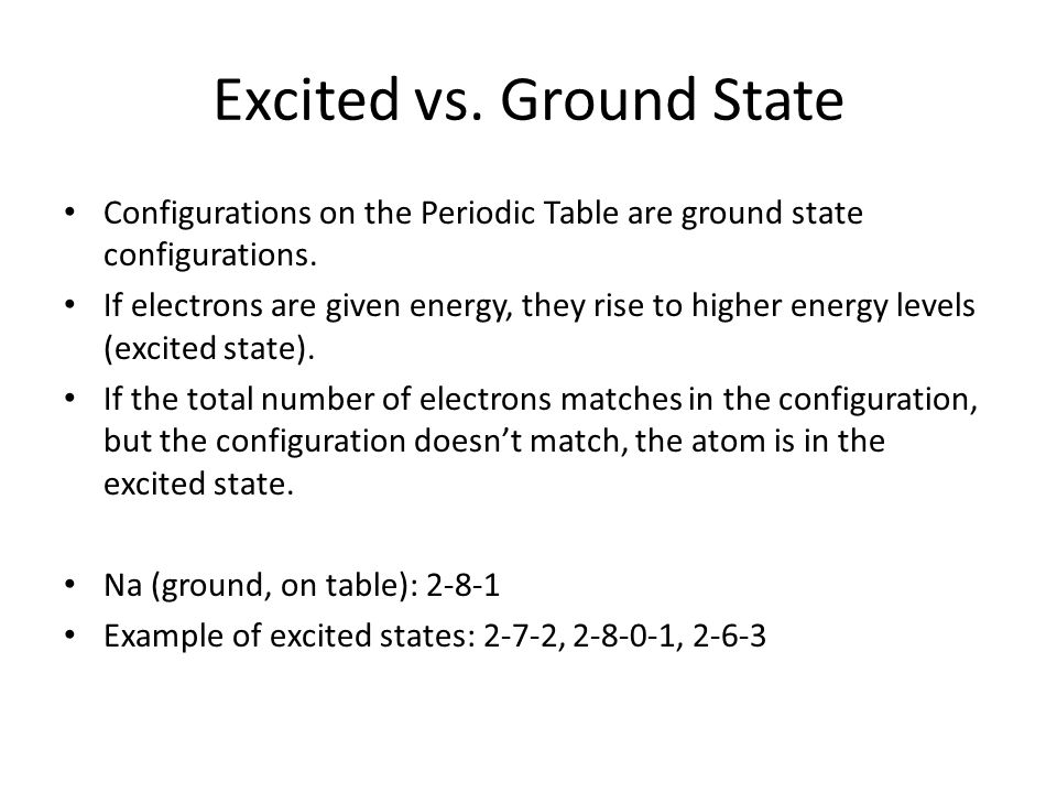 Excited vs. Ground State Configurations on the Periodic Table are ground state configurations. If electrons are given energy, they rise to higher ener