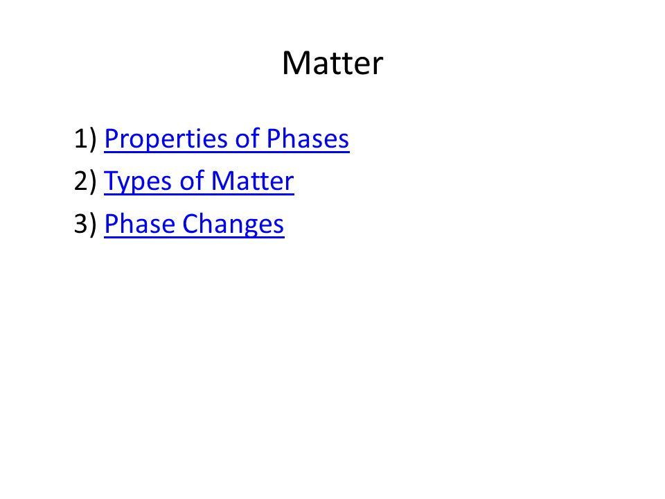 Matter 1) Properties of PhasesProperties of Phases 2) Types of MatterTypes of Matter 3) Phase ChangesPhase Changes