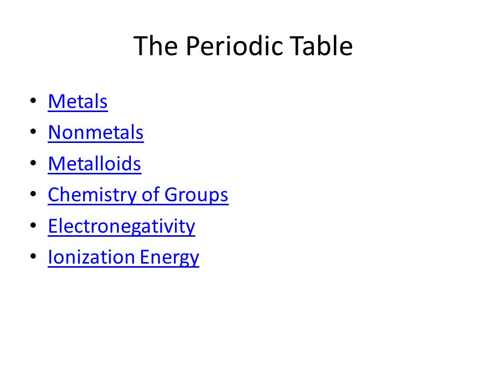 The Periodic Table Metals Nonmetals Metalloids Chemistry of Groups Electronegativity Ionization Energy