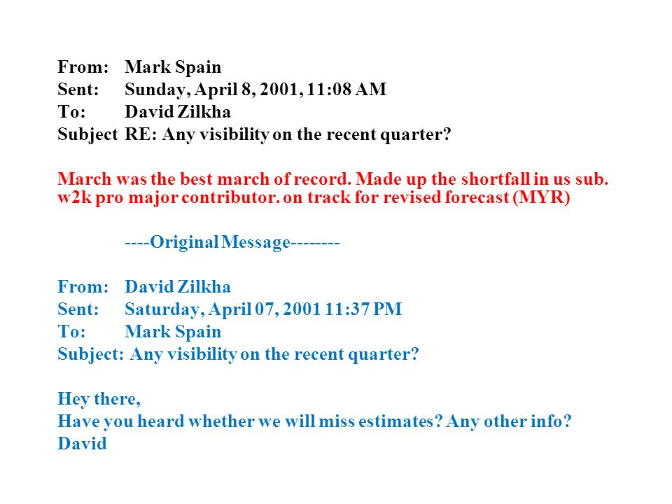 From: Mark Spain Sent: Sunday, April 8, 2001, 11:08 AM To:David Zilkha SubjectRE: Any visibility on the recent quarter.