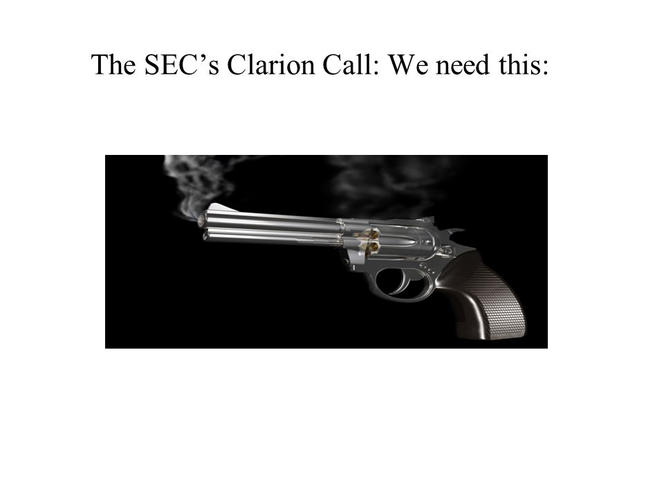 The SECs Clarion Call: We need this: