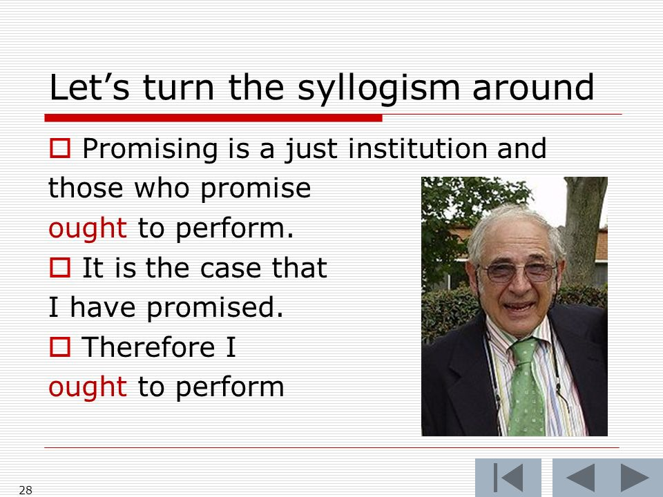 Lets turn the syllogism around Promising is a just institution and those who promise ought to perform. It is the case that I have promised. Therefore