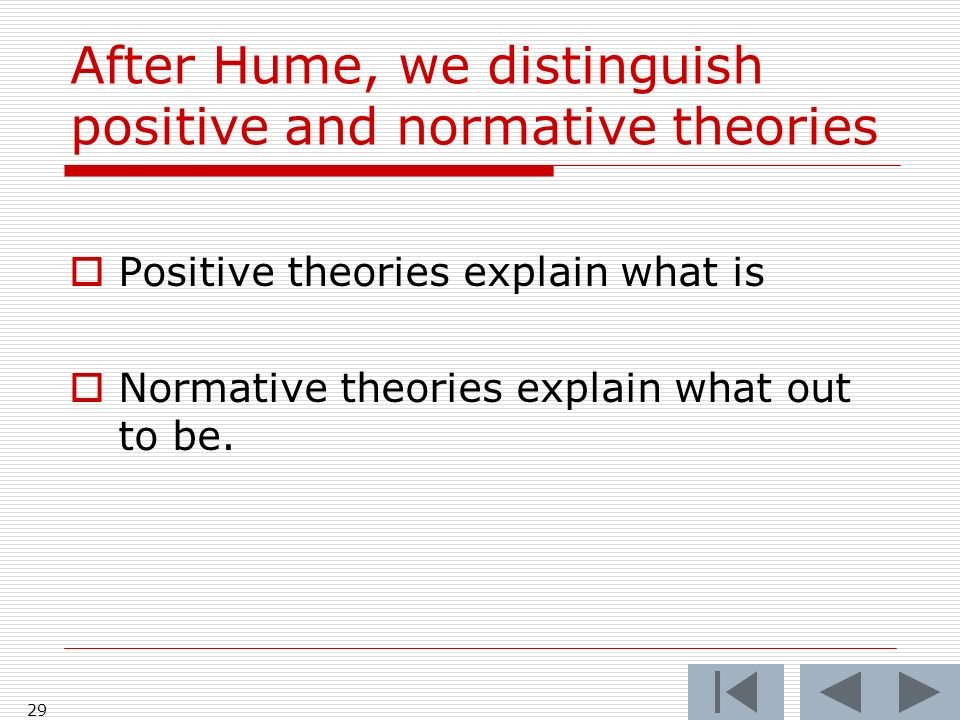 After Hume, we distinguish positive and normative theories Positive theories explain what is Normative theories explain what out to be.