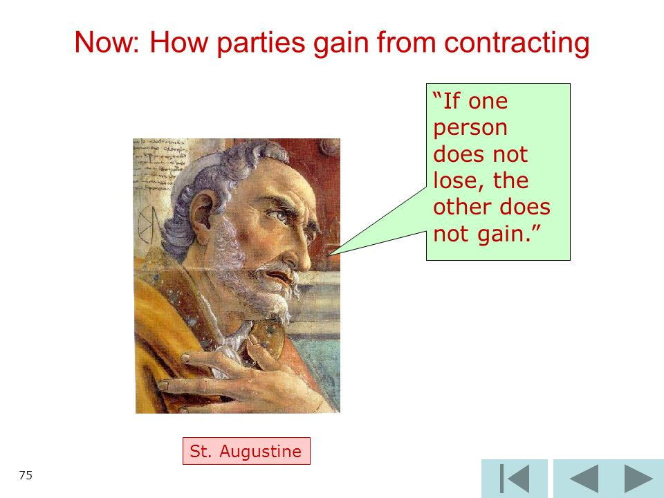 Now: How parties gain from contracting 75 If one person does not lose, the other does not gain. St. Augustine