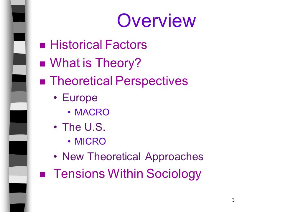 3 Overview n Historical Factors n What is Theory? n Theoretical Perspectives Europe MACRO The U.S. MICRO New Theoretical Approaches n Tensions Within