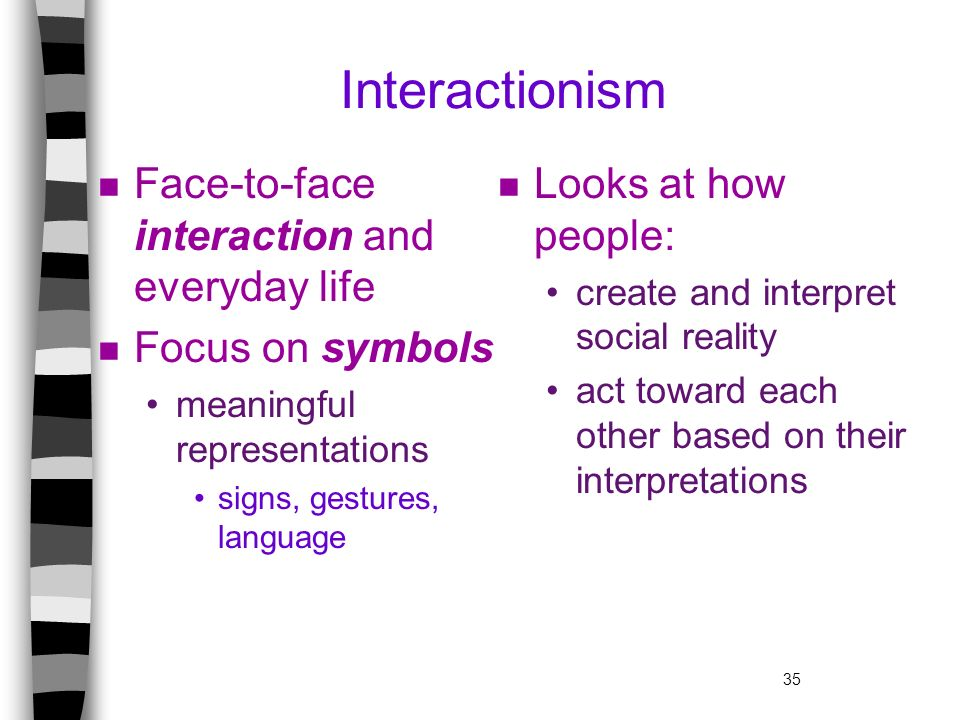 35 Interactionism n Face-to-face interaction and everyday life n Focus on symbols meaningful representations signs, gestures, language n Looks at how