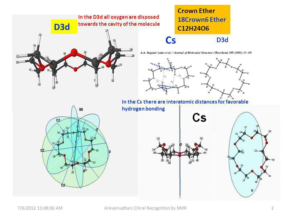 JPG Image Full publication by Bagatur Yants et al 7/6/ :49:36 AM2Aravamudhan: Chiral Recognition by NMR Cs D3d In the D3d all oxygen are disposed towards the cavity of the molecule In the Cs there are interatomic distances for favorable hydrogen bonding Crown Ether 18Crown6 Ether C12H24O6